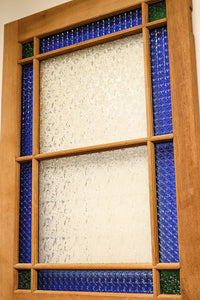 Width 910x 2,128 millimeters in height! Taisho wave is abusive! One piece of total oak stained glass door F7102 stock which blue stained glass shines in