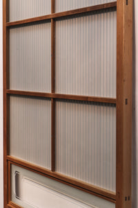 Width 925mm Osaka lattice door with glossy pickpocket glass with wooden round ceding grating F6327 2 pieces set