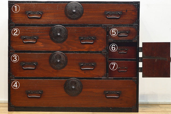 Ba9295, the best costume chest with Kashiwa decorative metal fittings floating in the old color of cedar