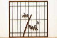 A beautiful large shoin with a bamboo sparrow, E8741cd, two sets of silhouette.