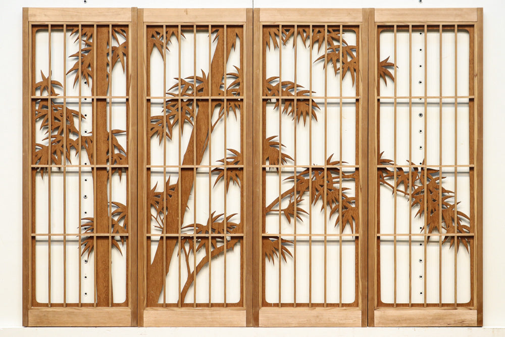 Best!! Sculpture shoin set with a beautiful view of the bamboo forest with an order of magnitude delicacy E8762 4 pieces 1 set in stock