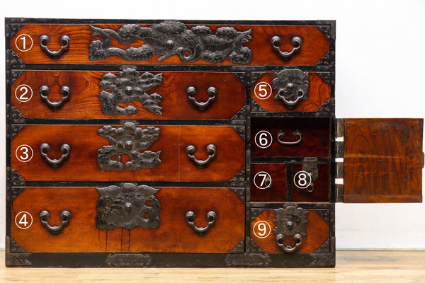 Auspicious metal fittings chests depicting tsurukame and shochiku plums Ba9226-MT