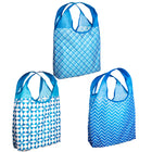 O-WITZ 3-Pack Reusable Shopping Bags Geometric Blue