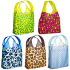 O-WITZ 5-Pack Reusable Shopping Bags Cheetah & Fish Prints