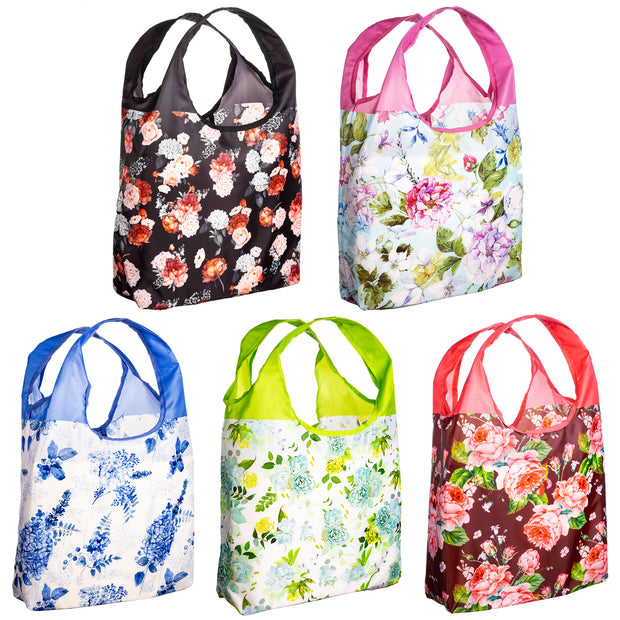 O-WITZ 5-Pack Reusable Shopping Bags Vintage Floral 1