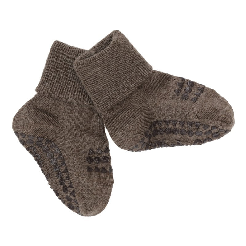 GoBabyGo Non-slip socks - Wool- Brown Melange
