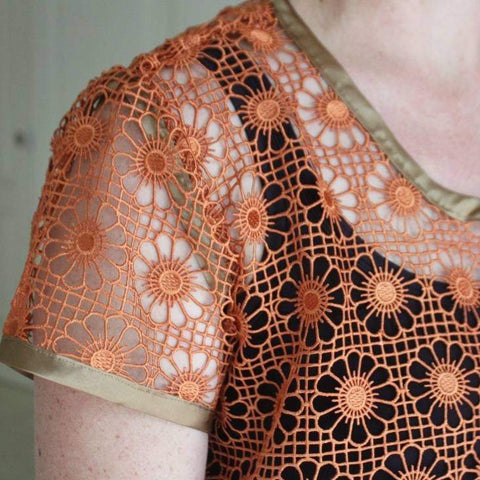 Gold bronze lace Daisy top