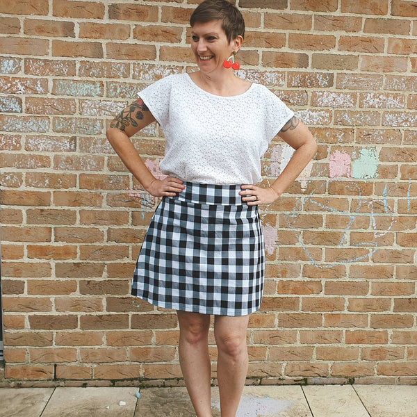 Black white gingham Dorothy A-line skirt