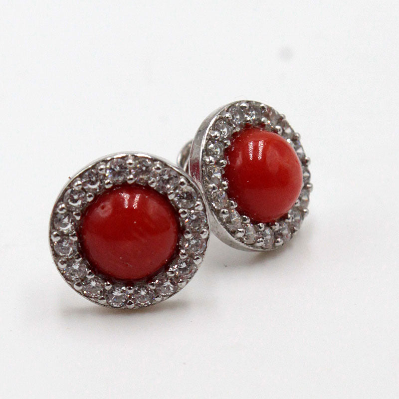 Boucles Corail, strass rondes - TScorsica