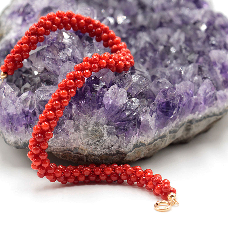 Bracelet corail rouge. Or 18 carats. - TScorsica