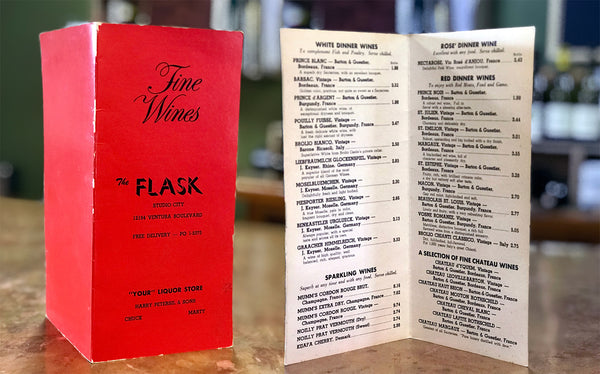 A wine list from Flask published in the 1970s