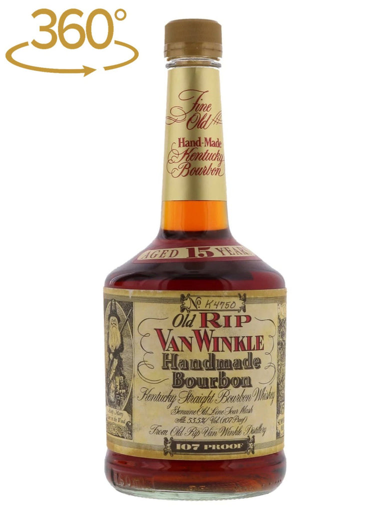 buy Old Rip Van Winkle Pappy 15 year old Bourbon Whiskey, Lawrenceburg c. 1996 Squat Bottle, online at Flask Fine Wine