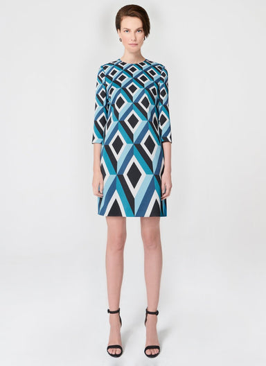 ESCADA Luxurious jacquard dress in graphic diamond design