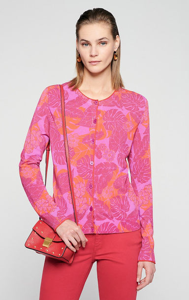 Cotton Blend Floral Cardigan - ESCADA