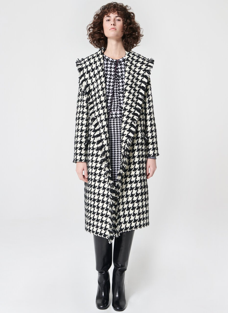 Statement wool houndstooth coat - ESCADA