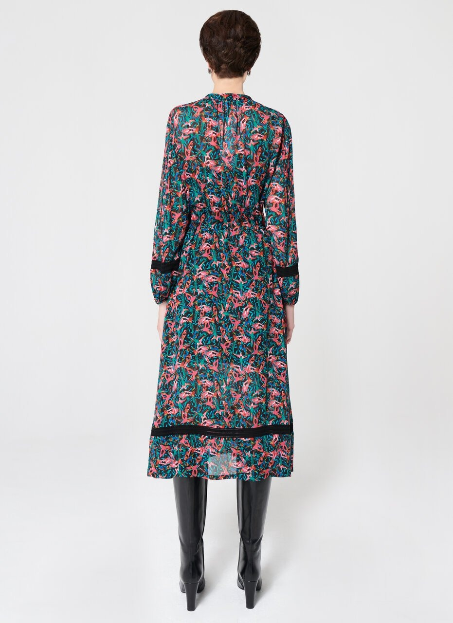 ESCADA All Over Bird Print Viscose Dress