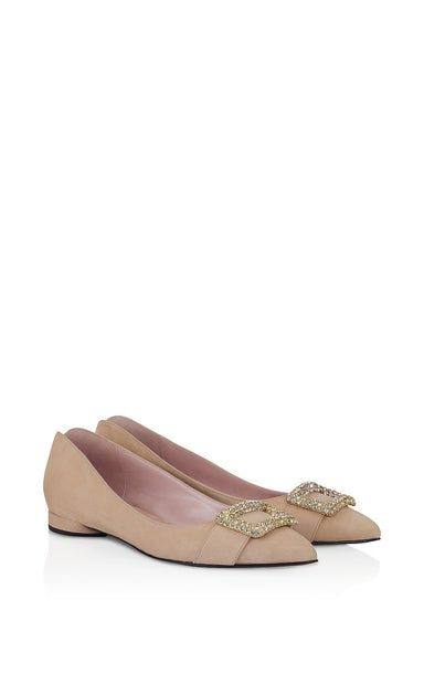Suede Embellished Flat Pumps - ESCADA