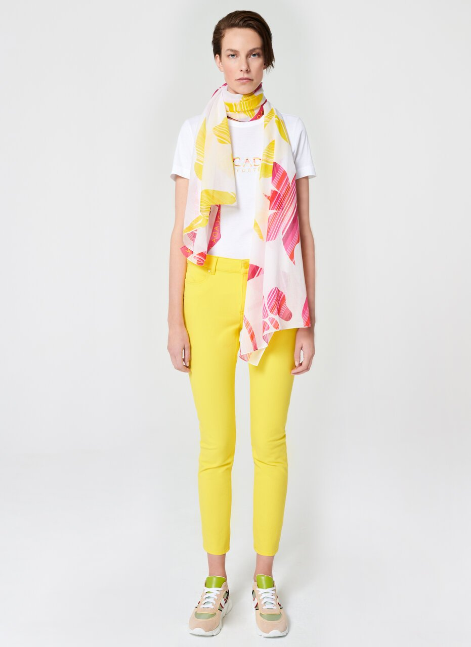 Multicolor Floral Cotton Scarf - ESCADA