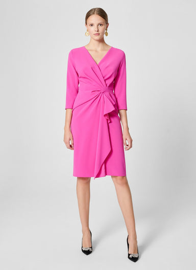 ESCADA Crepe Draped Midi Dress