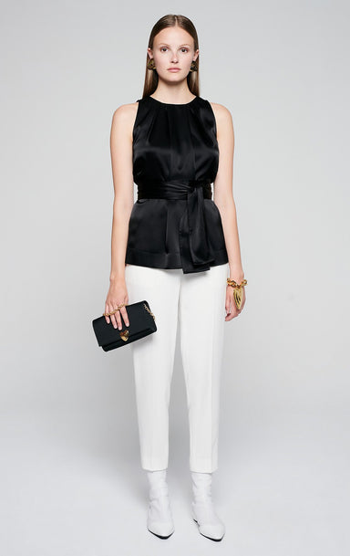 ESCADA Satin Sleeveless Belted Top