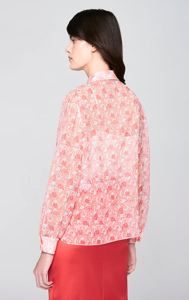 ESCADA Silk Printed Ruffle Blouse
