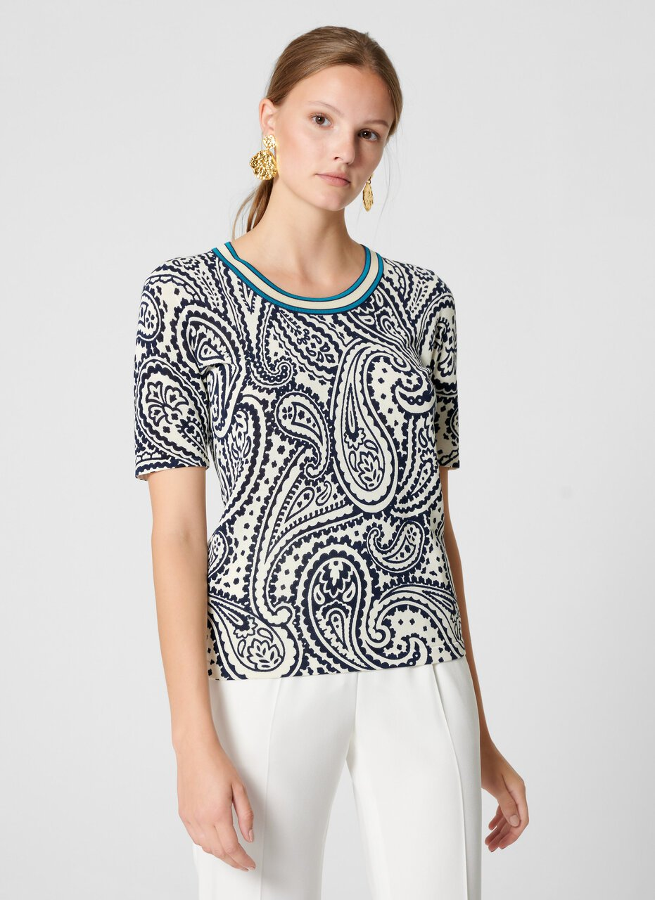 ESCADA Paisley Print Short-Sleeve Sweater