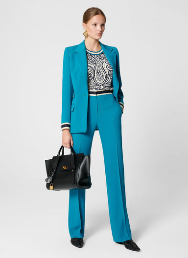 ESCADA Wool Blend Contrast Trim Pants