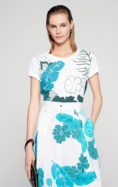 Floral Print Beaded T-shirt - ESCADA