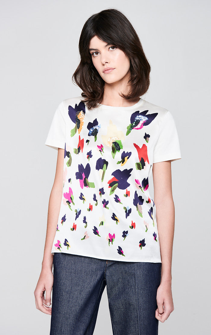 Jersey and Silk Embroidered T-shirt - ESCADA