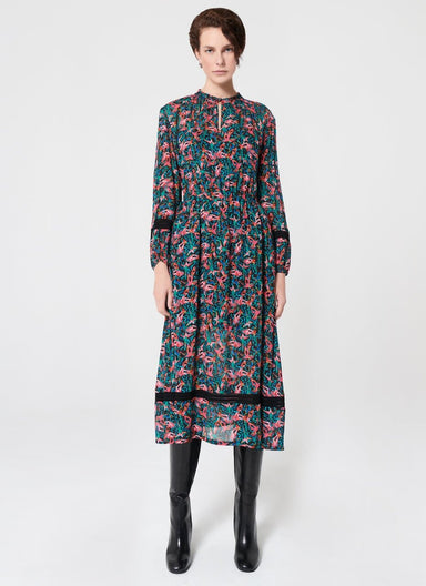 All Over Bird Print Viscose Dress - ESCADA