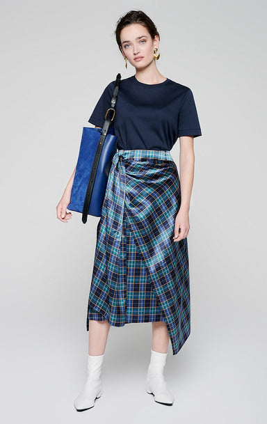 ESCADA Silk Satin Check Skirt
