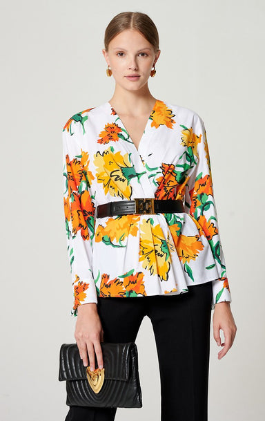 Cotton Printed Peplum Blouse - ESCADA