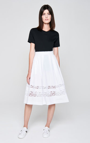 Cotton Poplin and Lace Skirt - ESCADA