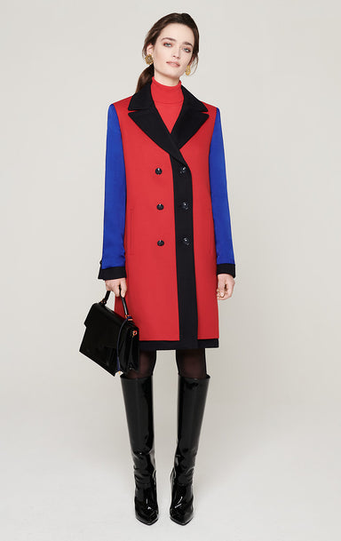 ESCADA Wool Cashmere Color Block Coat