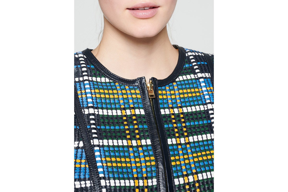 ESCADA Woven Check Leather Jacket