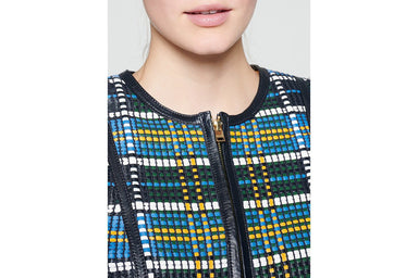 Woven Check Leather Jacket - ESCADA