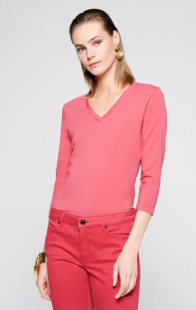 Cotton Stretch V-neck T-shirt - ESCADA