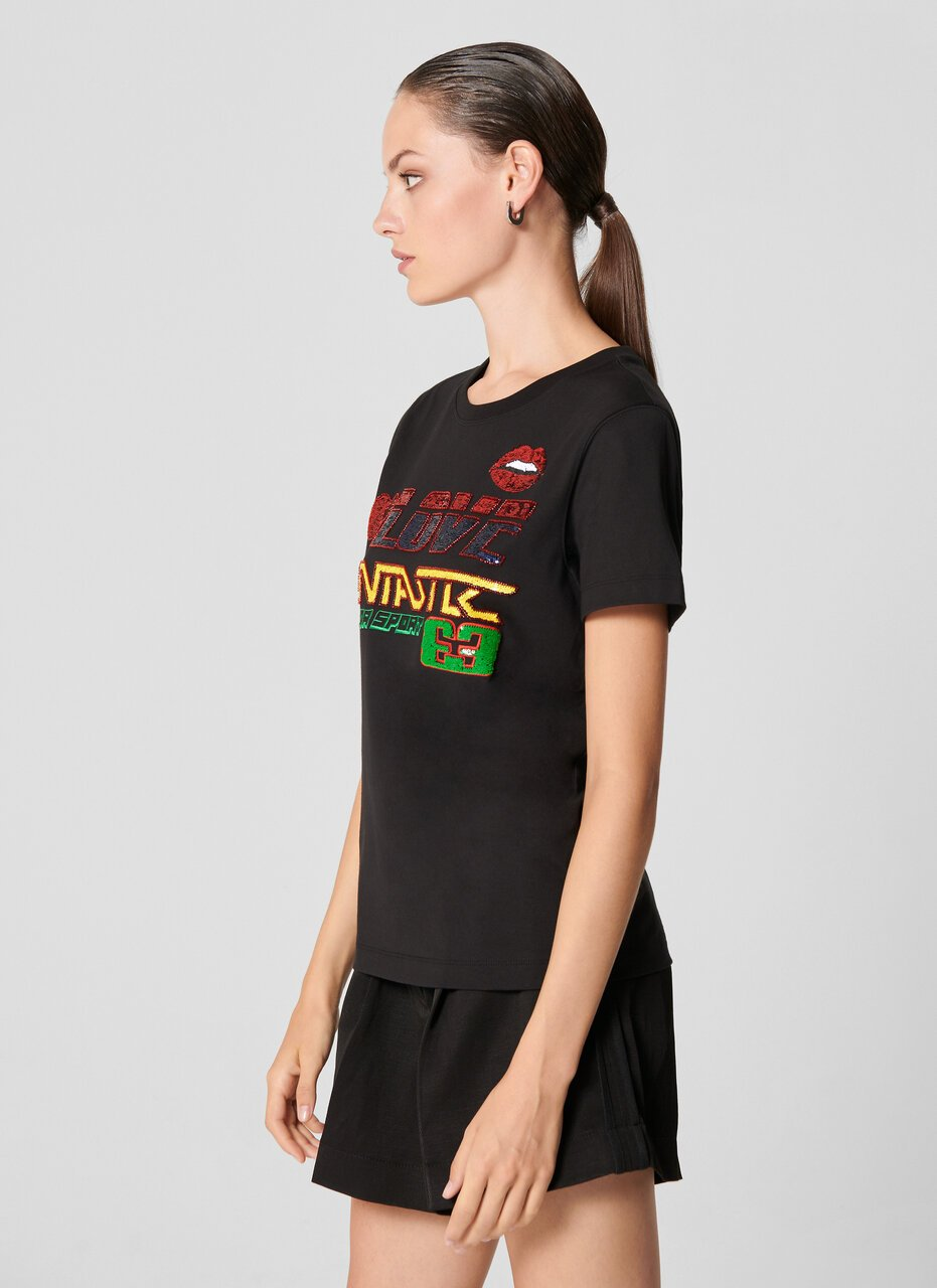 Sequin Appliqué Logo T-shirt - ESCADA