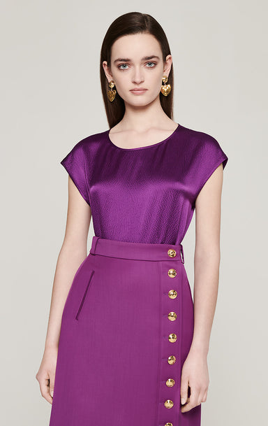 Silk Satin Cap-Sleeve Top - ESCADA