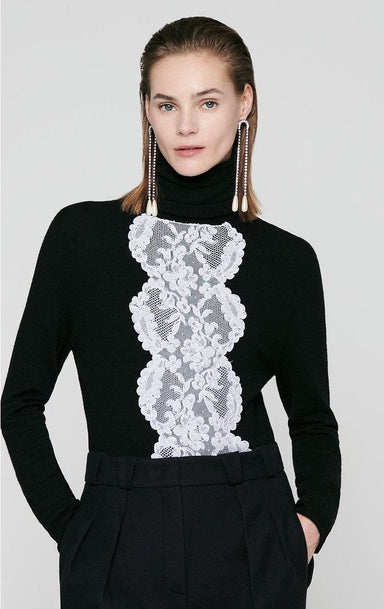 Residency Collection - Wool and Lace Turtleneck Sweater - ESCADA