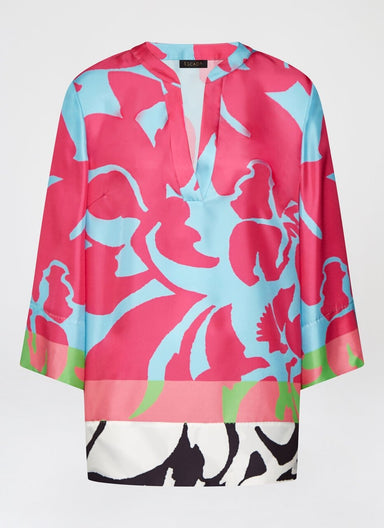 Placed printed silk tunic