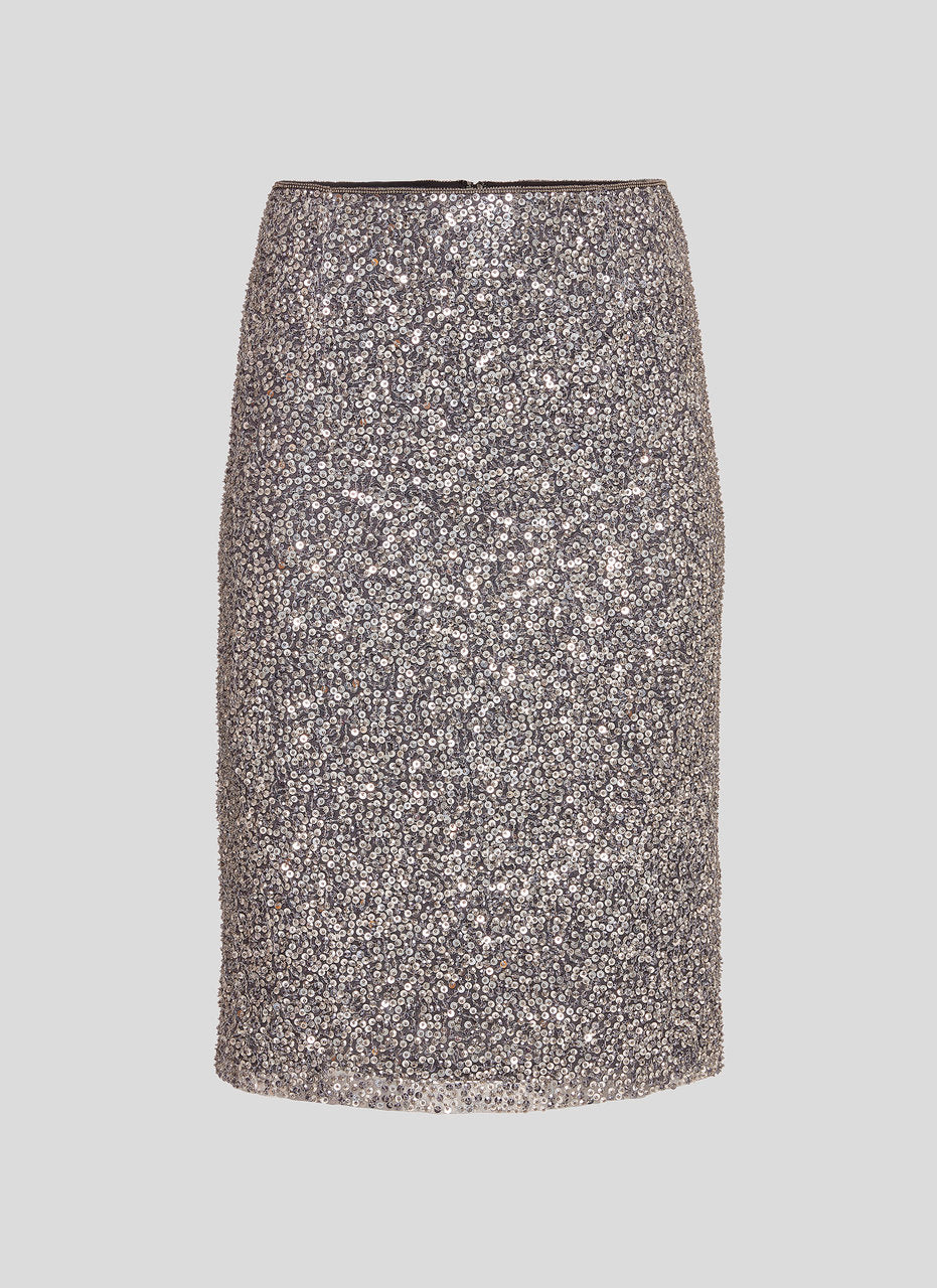 Sequined Silk Pencil Skirt - ESCADA