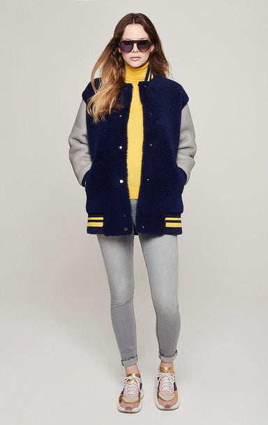 Shearling Leather Varsity Jacket - ESCADA