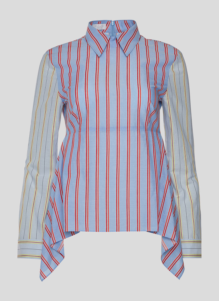 ESCADA Multi Stripe Volant Blouse
