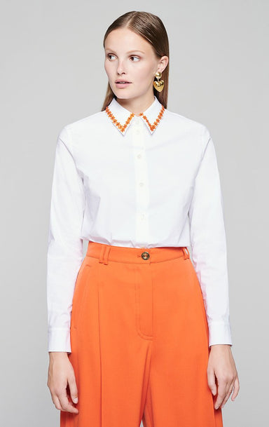 Cotton Poplin Embroidered Shirt - ESCADA