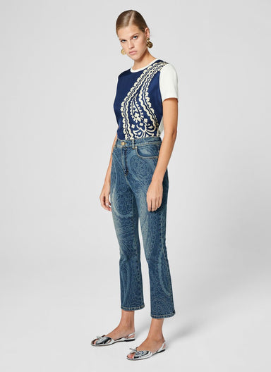 ESCADA Paisley Print Cropped Jeans