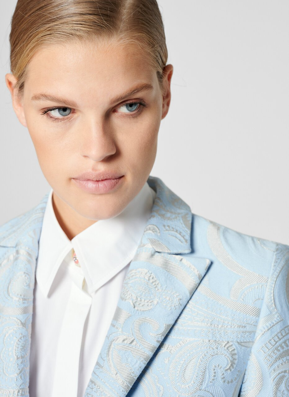 ESCADA Paisley Jacquard Jewel Button Blazer