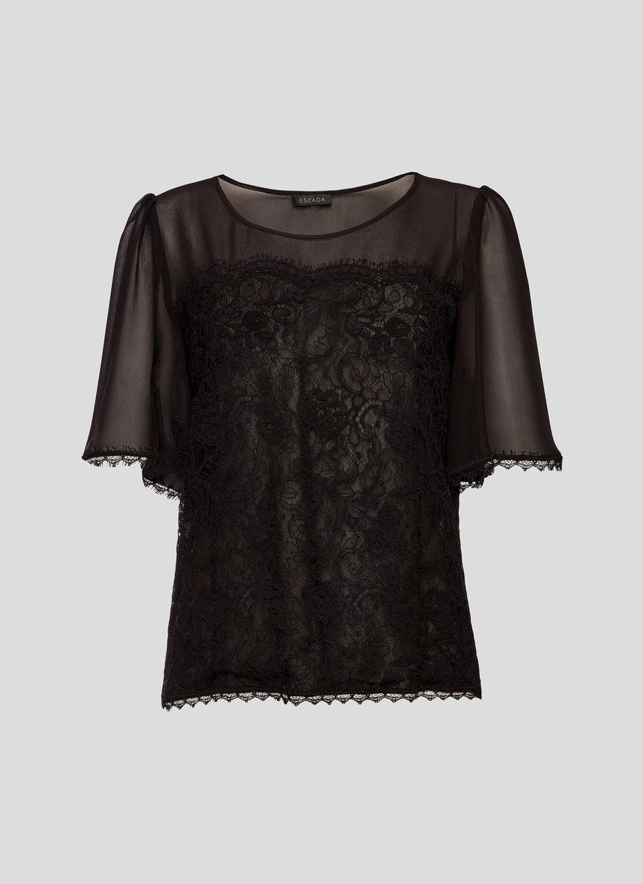 Cotton and Silk Lace Top - ESCADA