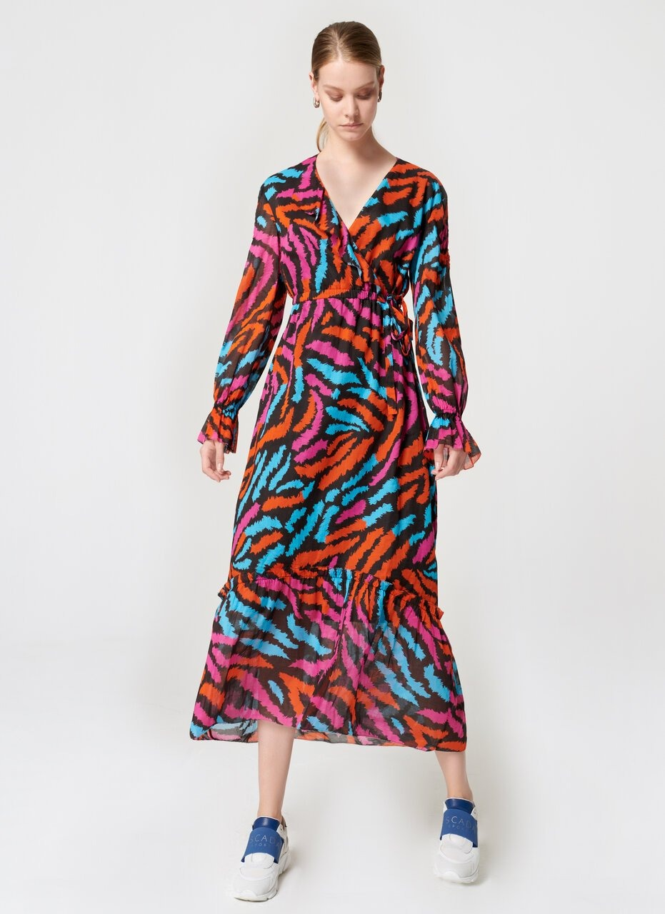 ESCADA Zebra Print Ruffle Maxi Dress