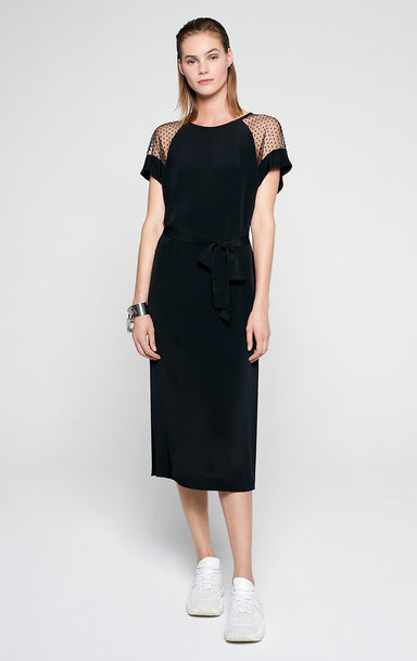 ESCADA Silk Blend and Tulle Midi Dress